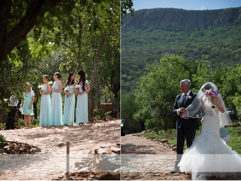 Bride walking in and Bridesmaids waiting