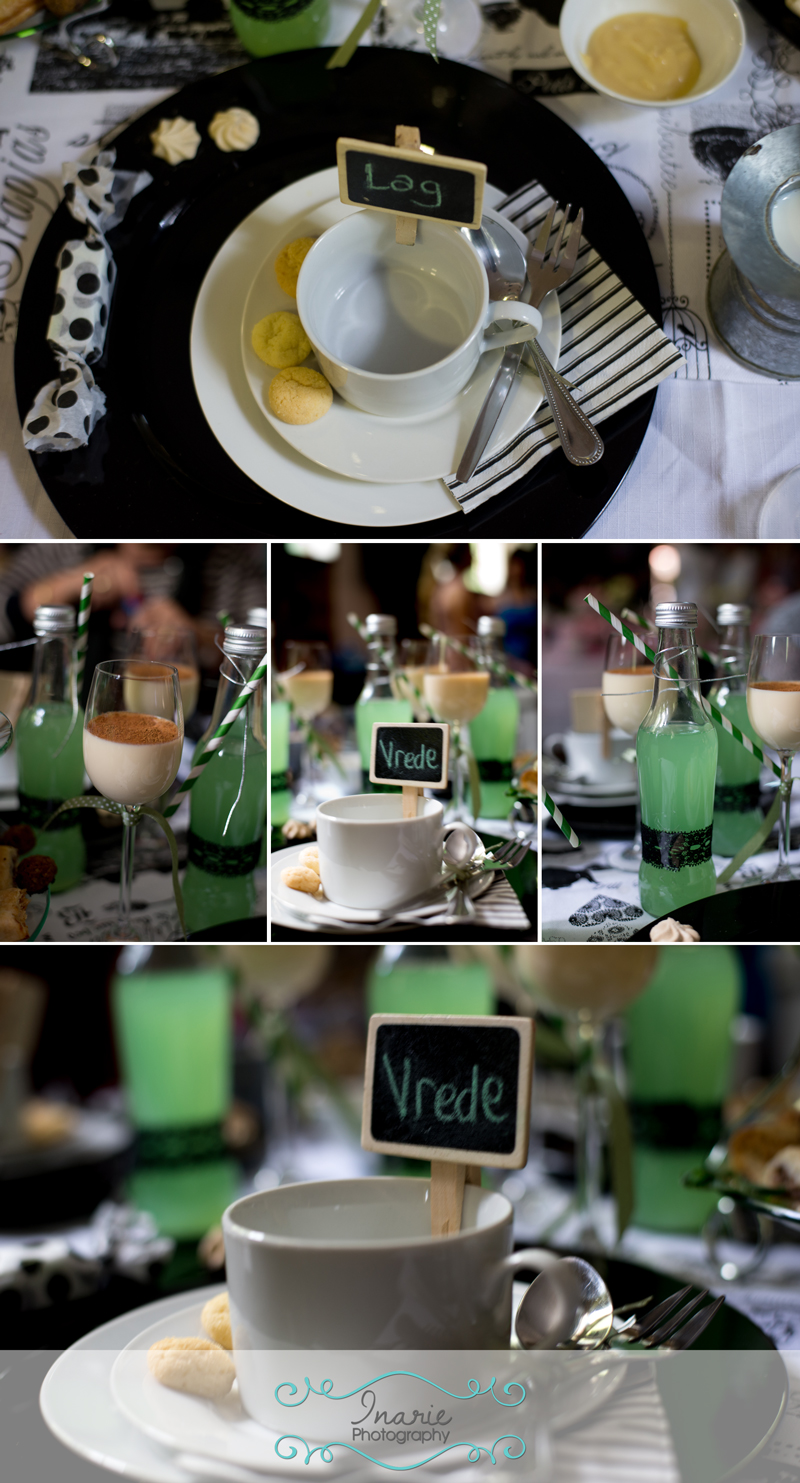 Mint, black and white decorated tables