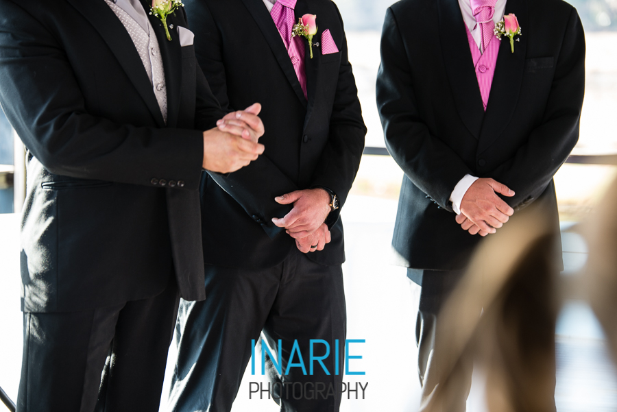 Nervous groom's hands