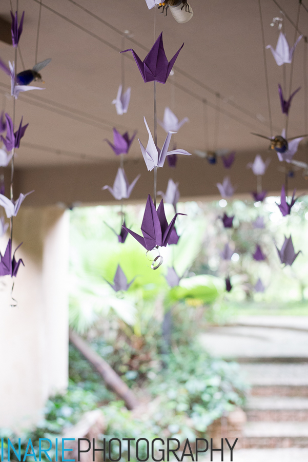Origami birds hanging at the entrance